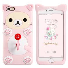 Fabitoo Cute ice cream silicone back cover case For Apple iPhone 6s With lanyard -Pink