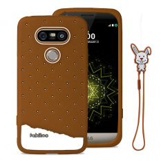 Fabitoo Cute ice cream silicone back cover case For LG G5 With lanyard -Coffee Color