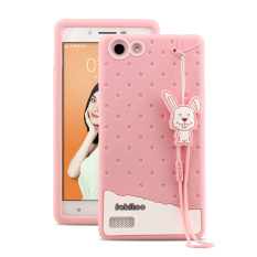 Fabitoo Cute ice cream silicone back cover case For OPPO A33 With lanyard -Pink Color