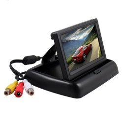 Foldable 4.3 Inch Anti-Glare Color LCD TFT Rear View Monitor Display Screen (Black) - intl