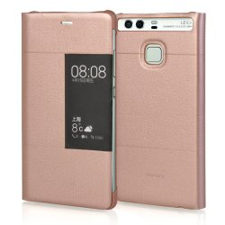 Folio Leather Side Flip View Bumper Case Cover for Huawei P9 Rose Gold
