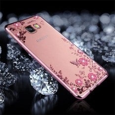 For Samsung Galaxy J5 Prime Flowers Pattern Diamond Encrusted Electroplating Soft TPU Protective Cover Case (