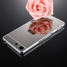 For Sony Xperia M5 Mirror Push Pull Back Shell Cover + Electroplating Bumper Frame Protective Combination