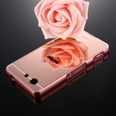 For Sony Xperia Z3 Compact Mirror Push Pull Back Shell Cover + Electroplating Bumper Frame Protective
