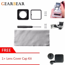 GearBear Repair Lens Replacement Kit + Tools + Cloth + GIFT Lens Cover Caps For GoPro Hero 4 3+ Camera Skeleton Side Open Standard Waterproof Housing Case