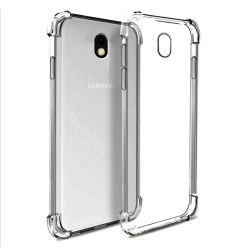 German Import Shockproof Silicone Clear Case For Samsung Galaxy J7 Pro (Smoke Grey)