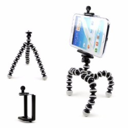 Gorilla Pod (Small) Octopus Flexible Tripod Stand for Camera and Smartphone (Black) FREE Mobile Phone Holder