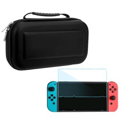 Hard Portable Travel Carrying Protective Storage EVA Case Bag Shell Sleeve with 2 PCS HD Tempered Glass Thin Screen Protector Film Cover for Nintendo Switch And Accessories Black - intl
