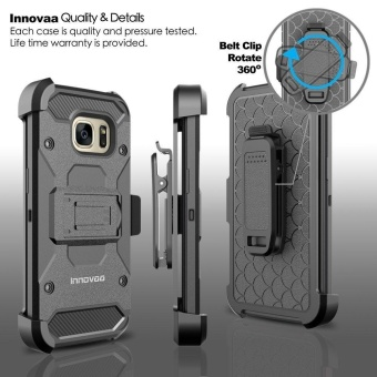 Heavy duty Shockproof Kickstand Armor Case For Galaxy S7 Edge With Belt Clip Holster - intl