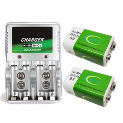 4 Slot Charger with LED Indicator for AA/AAA /9v with Free 2 Pieces Rechargeable Battery 9v