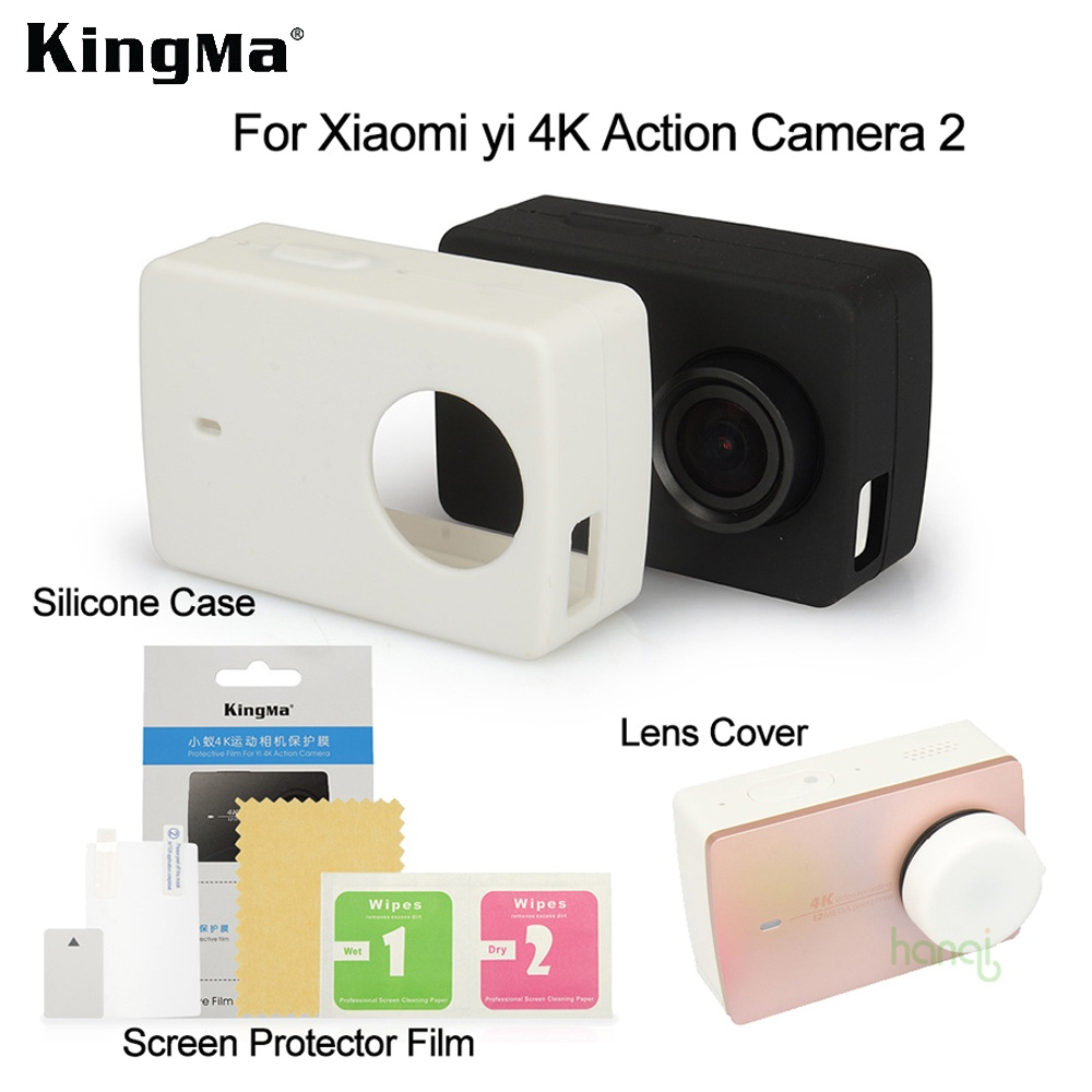 Kingma Xiaomi Yi 4k Screen Protector Film+ Xiaomi Yi 4K II Silicone Case+Lens Cover For Xiaomi yi 4K Action Camera 2 Accessories - intl
