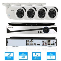 "KKmoon 10.1"" 4CH AHD 1080N Network Digital Video Recorder + 4*720P Outdoor/Indoor Infrared Bullet Camera + 4*60ft Cable support IR-CUT Filter Infrared Night Vision Weatherproof Android/iOS APP Motion Detection - intl"