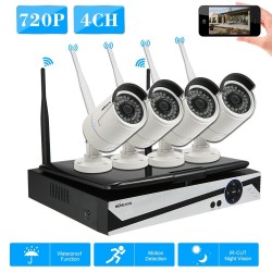 "KKmoon 4 Channel Wireless WiFi NVR CCTV System Kit 10.1""LCD Screen Monitor + 4pcs HD 720P WiFi Outdoor Weatherproof Bullet IP Camera Support P2P IR Night Vision for Android/iOS APP Motion Detection for CCTV Security Surveillance System - intl"
