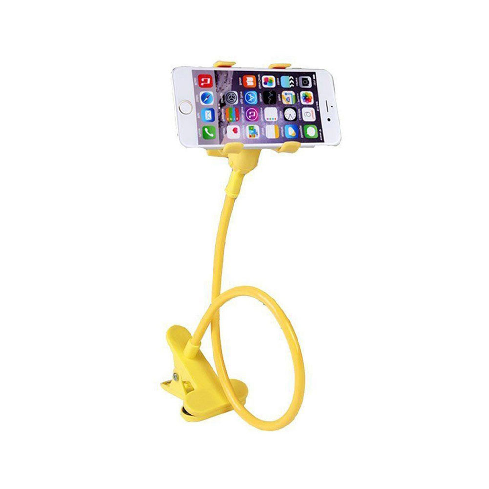 Lazy Mount Double V Clip Cell Phone Holder Clamp Flexible Goose neck Yellow product preview, discount at cheapest price