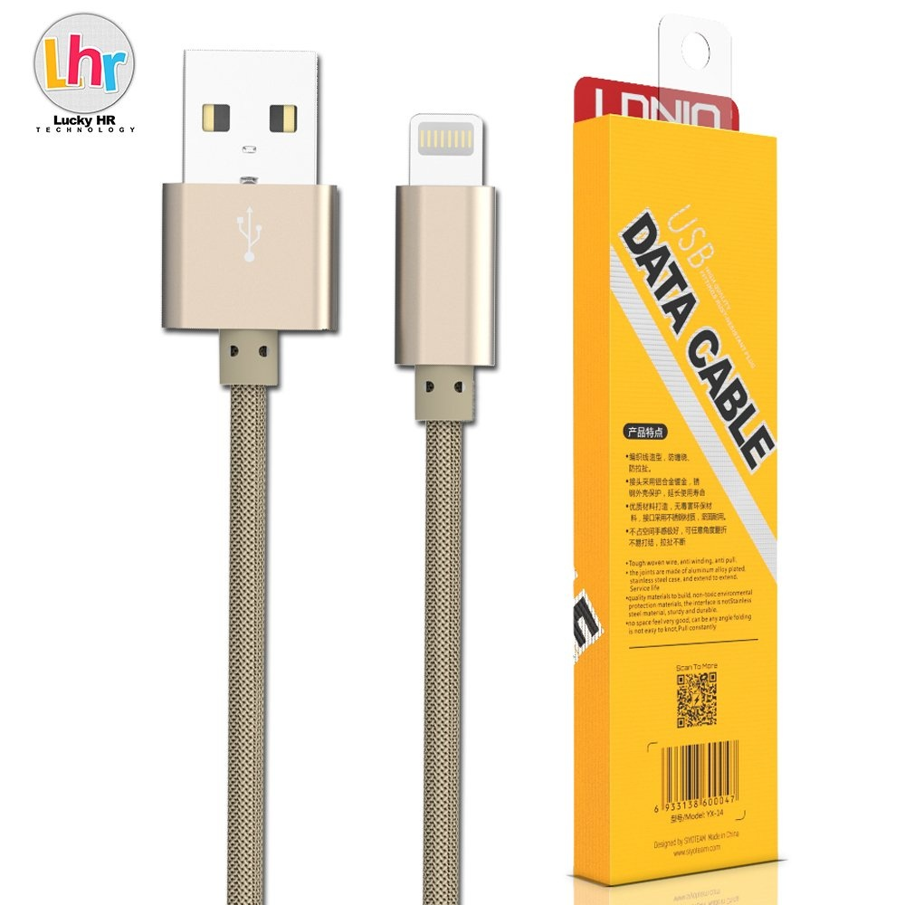 LDNIO LS08 1M Fast Charge Micro USB Cable for iPhone 6/6s/7 (Gold) - thumbnail