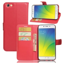 Leather Flip Cover Phone Case Wallet Card Holder For OPPO F3 Plus (Red) - intl
