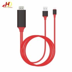 Lightning HDTV Cable Video & Charge Plug and Play for iPhone5/6/6Plus/7/7Plus (Red/Black)