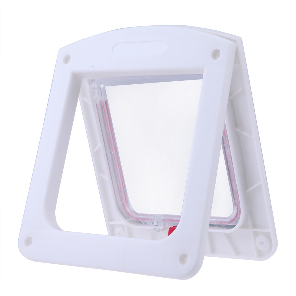 Lockable Cat Flap Door Kitten Dog Pet Lock Suitable for Any Wall White - thumbnail