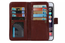 Luxury Magnetic Two Style 9 Card slot PU Leather Flip Wallet Case Cover for Iphone 6plus/6s plus (Brown) - intl