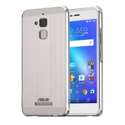"Luxury Metal Aluminum Bumper Case For Asus ZenFone 3 Max ZC520TL 5.2"" Detachable + Brushed PC Hard Back 2 in 1 Ultra Thin Frame Silver"