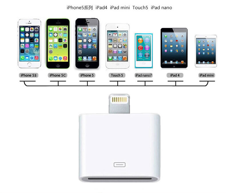 30 Pin to 8 Pin Lightning Adapter Converter for iPhone 4 to iPhone X 8 5 6 6S 6 7 Plus OEM product preview, discount at cheapest price