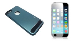 M-series Metal Case for iPhone 6/6s (Blue) bundled w/ Tempered Glass