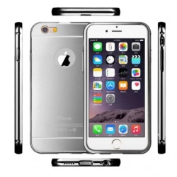Metal Bumper For Iphone 5/5S (Silver) With Front And Back Glass Screen (Silver)  with Free Samsung 2A 1M Micro Usb Charger Charging Sync Data Cable For Smart Phone