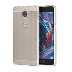 Metal Bumper Wire Drawing Back Cover Case For OnePlus 3T (Silver) - intl