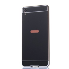 Metal Frame Bumper + Mirror Effect PC Cover For Sony Xperia XA (Black) -