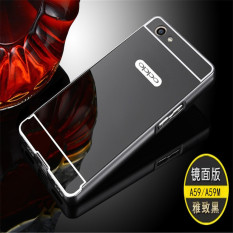 Metal frame mirror drop case cover for Oppo F1s (black) - intl