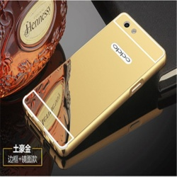 Metal frame mirror drop case cover for Oppo F3 plus( Gold) - intl