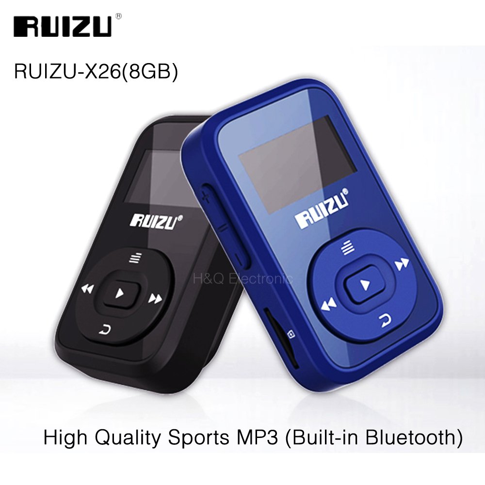 Mini Original RUIZU X26 Clip Bluetooth MP3 player 8GB Sport Bluetooth Mp3  Music Player Recorder FM Radio 1 1inch Support SD Card - intl