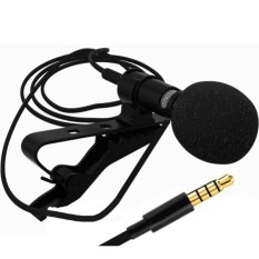 Mini Phone Lavalier Microphone 3.5mm Jack Wired Clip-on Recording Lapel Microphone with PU