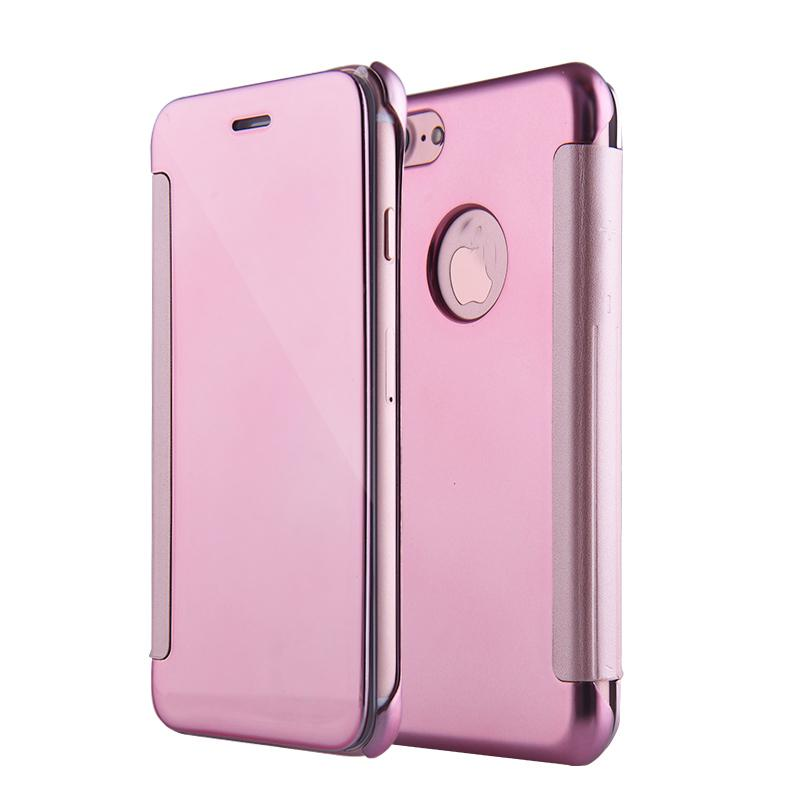 For iPhone 7 Plus / iPhone 8 Plus Plating Mirror Full Coverage Protective Case Window View