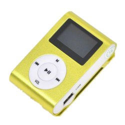 MP3 Player LCD Screen Support 32GB Micro SD Card (Yellow)