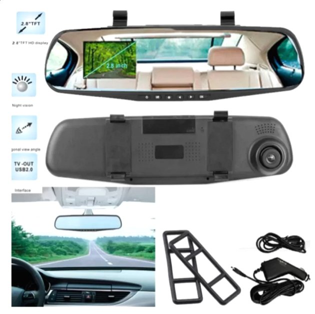 "Mr.J 2.8"" 1080P Car DVR Rearview Mirror Camera (Black)"