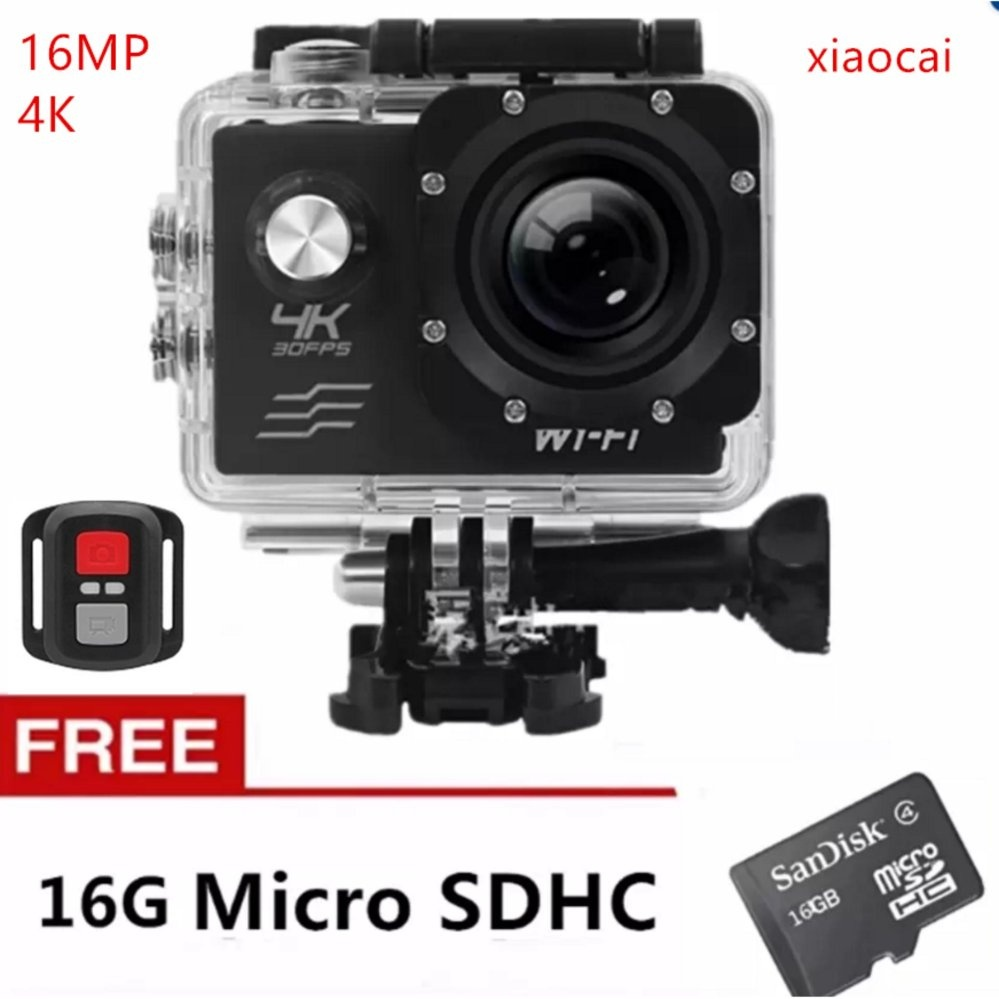 New Xiaocai-4K Action Camera Wifi Sports Cam + Remote Control Shutter And 16G