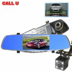 NIA Car DVR Dash Cam Full HD 1080P 5 Inch IPS Dual Lens Rear View Mirror Camcorder Auto Video Registrator Camera Dvr Recorder(GOLD)