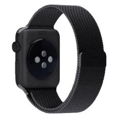niceEshop 42mm Milanese Magnetic Loop Stainless Watch Band Strap Leather Loop For Apple Watch (Black