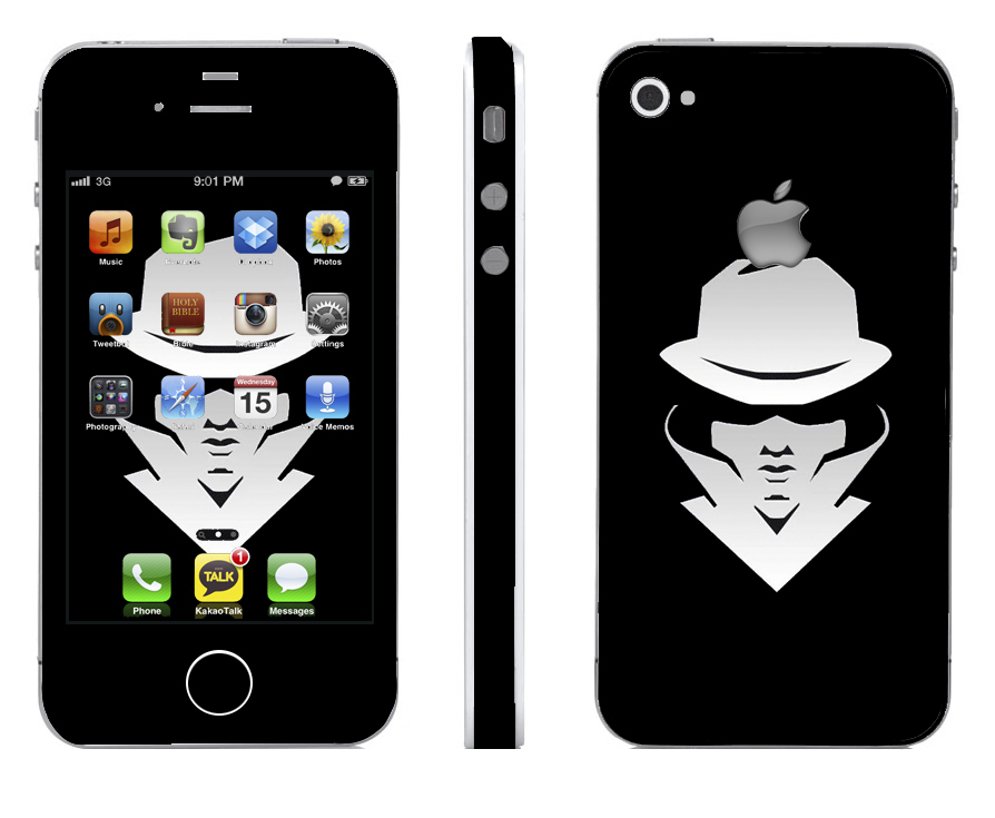 Odd Stickers Skin Cover Black Man Pattern 1 for iPhone4/4s (Black)