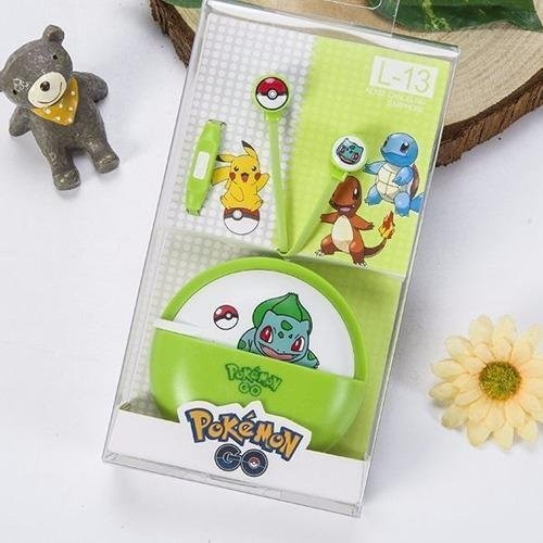 Pokemon Bulbasaur L-13 96dB In-Ear Headphone with Mic (Green) - thumbnail