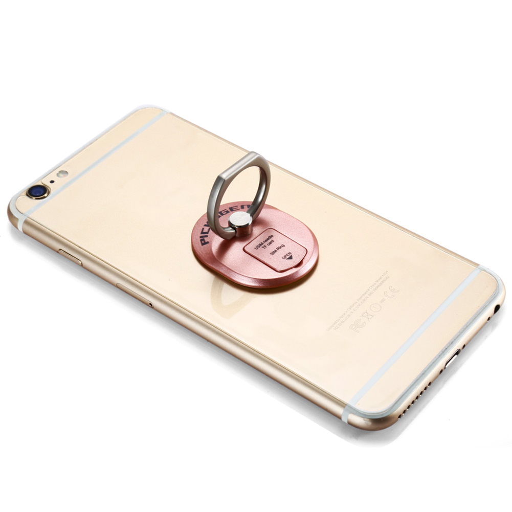 Practical Ring Design Metal Mobile Phone Stand Bracket with SIM Card Holder (Rose Gold) - thumbnail