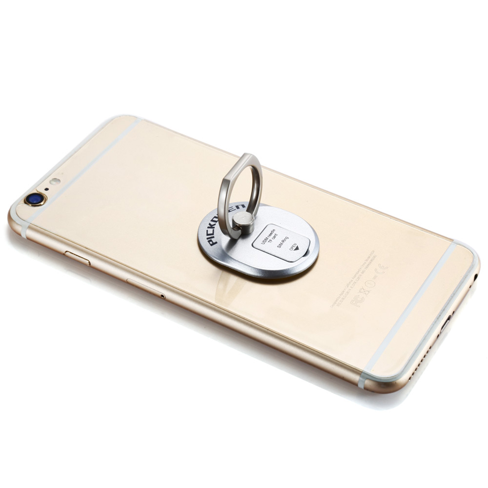 Practical Ring Design Metal Mobile Phone Stand Bracket with SIM Card Holder (Silver) - thumbnail