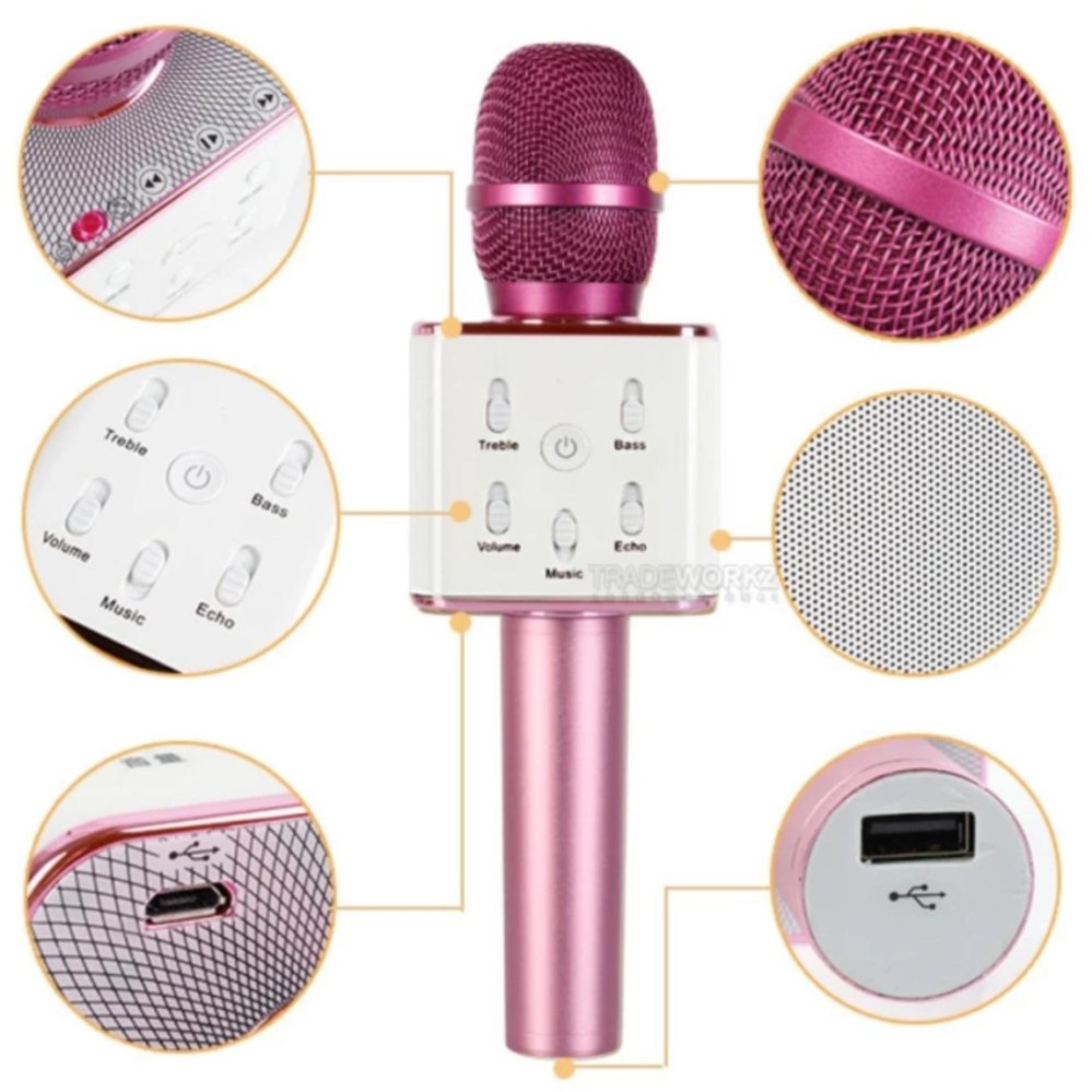 Q7 Wireless Bluetooth Microphone & HIFI Speaker(Pink) with ID Lace