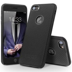 QIALINO UltraSlim Genuine Leather Back Cover Bumper Mesh Case for iPhone 7 - Black - intl