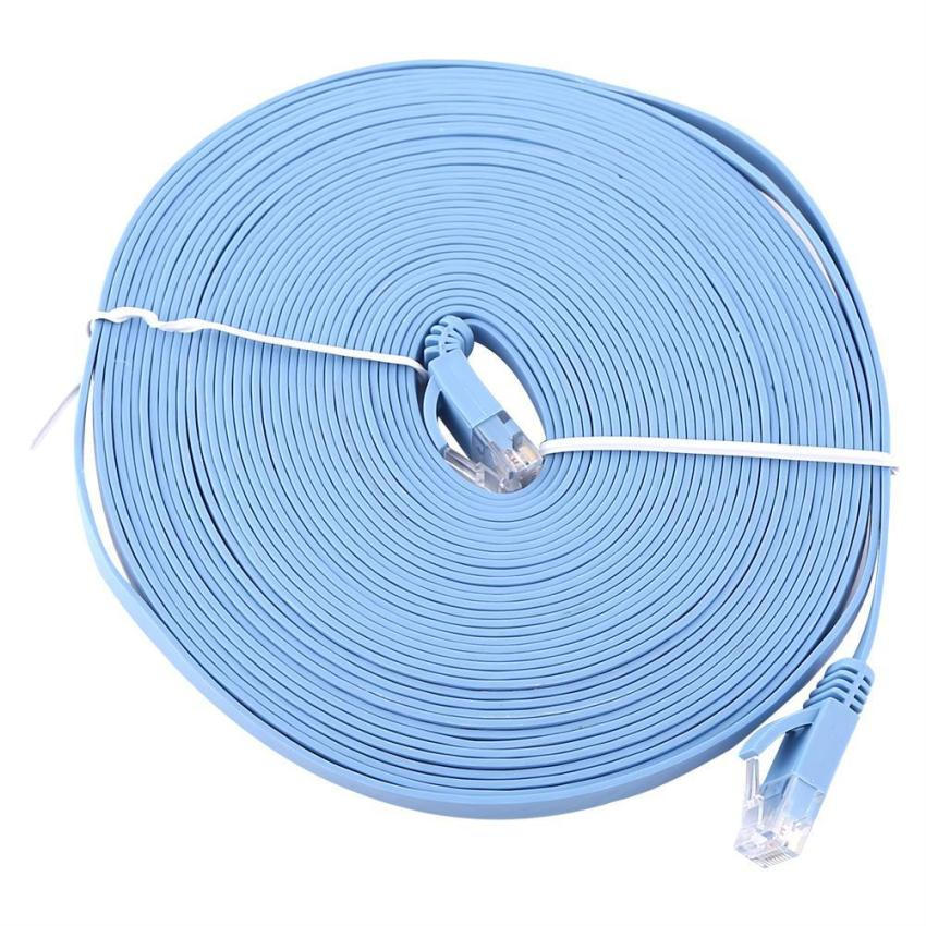 RJ45 CAT6 Ethernet Network Flat LAN Cable UTP Patch Router Cables 1000M (Blue 10meters)