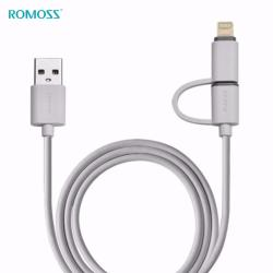 Romoss CB20 Smart 2-in-1 Lightning Micro USB Gold Plated 8-Pin Cable 1.0m (White)
