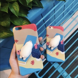 "Rosu Squishy Cute 3D Silicone Polar Bear Phone Case for iPhone 6 6S PLUS (5.5"")"