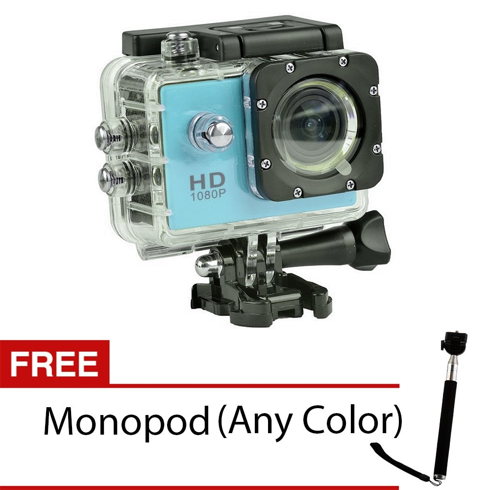 S8 1080P Hd 12.0Mp Action Camera (Blue) With Free Monopod