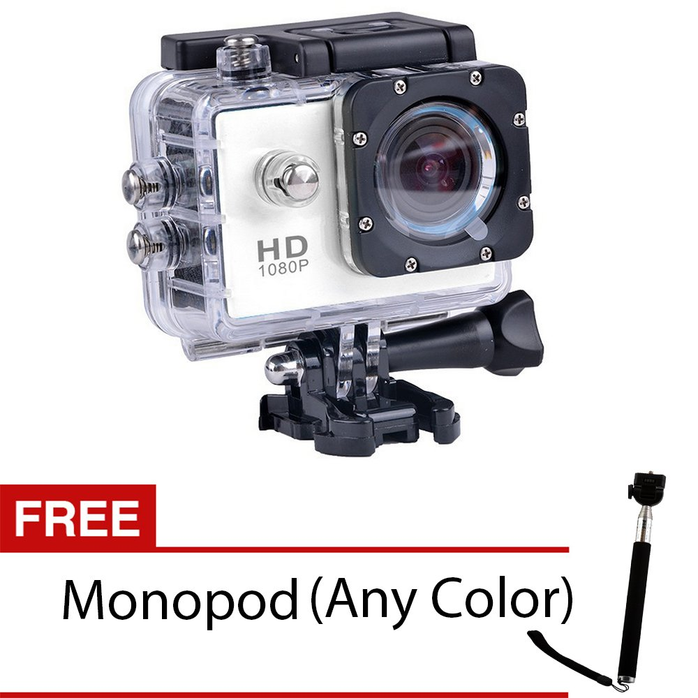 S8 1080P Hd 12.0Mp Action Camera (White) With Free Monopod